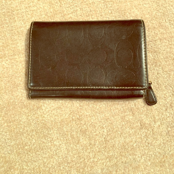 Coach Handbags - Leather Coach Trifold Wallet